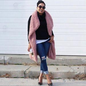 Pink Faux Sherling Vest